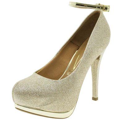 5c92340c42 Sapato Feminino Salto Alto Dourado Vizzano - .
