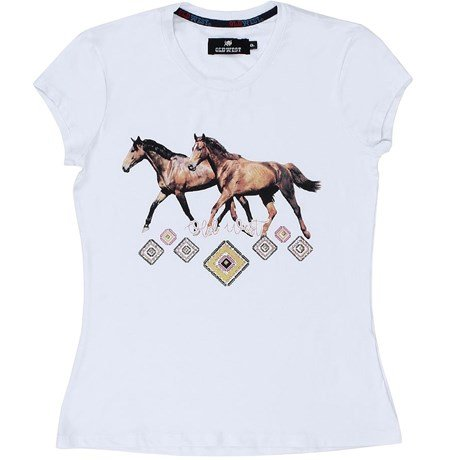 Camiseta T-Shirt Feminina Branca Old West 217. 0ad194524ef94