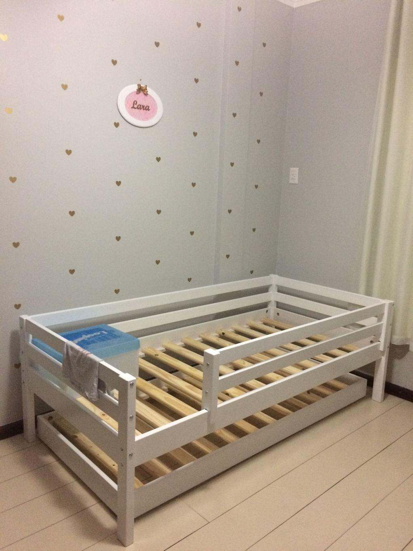 1071420876 Bicama Infantil Prime com Grade de Proteção - Madeira Maciça - Laca ...