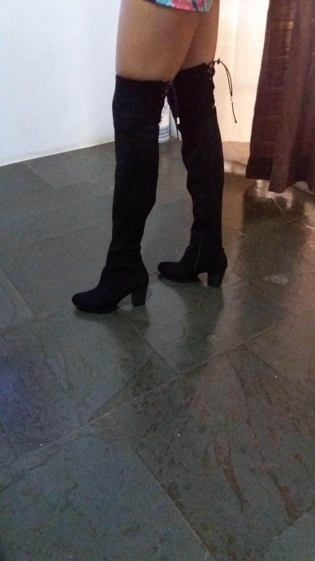 130ce683d7 Bota Feminina Over The Knee Preta Via Marte - 171006 - cloviscalcados