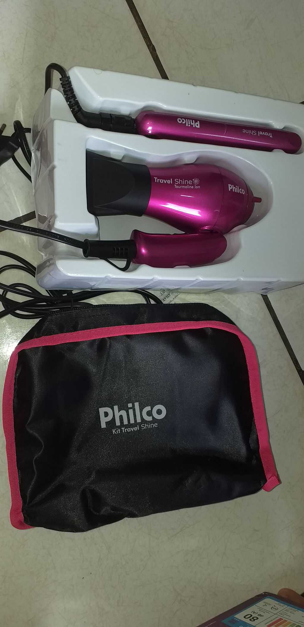 98f41e857 Kit Travel Shine Prancha e Secador Rosa Philco - Havan Mobile